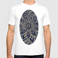 Cute Retro Gold abstract Flower Drawing on Black Mens Fitted Tee White SMALL