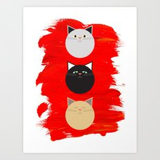 Cats - three little dots Art Print