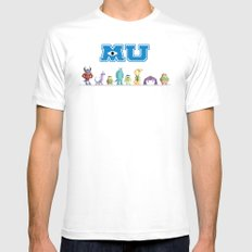 Pixel Monsters University White Mens Fitted Tee SMALL