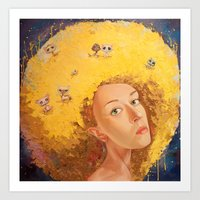 Yellow Selfportrait  Art Print