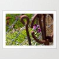 Iron and Purple Flowers Art Print