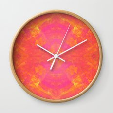 Pink and Orange Stripes Wall Clock