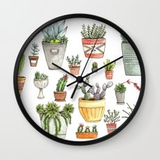 Potted Succulents Wall Clock