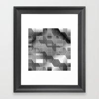 HexiPlaid Silver Framed Art Print