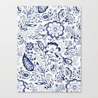 Folk Floral Indigo Canvas Print