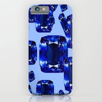 iPhone Cases featuring Royal Blue September Birthstone Sapphires on Blue by sharlesart