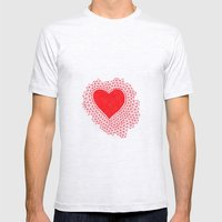 red geometric heart Mens Fitted Tee Ash Grey SMALL