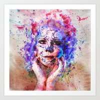 Sugar Skull splats Art Print