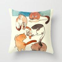 kitty card Throw Pillow