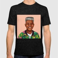 Hipstory - Nelson Mandel… Mens Fitted Tee Tri-Black SMALL