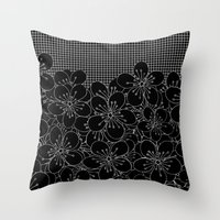 Cherry Blossom Grid Black Throw Pillow