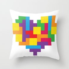 Tetris Heart Throw Pillow