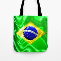 Brazil Flag Waving Silk Fabric Tote Bag