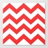 Red Chevron Lines Canvas Print