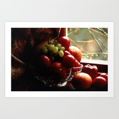 Fruit Bowl In The Cottage Window Art Print