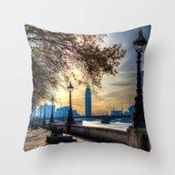River Thames Path Throw Pillow
