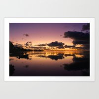 Sunset and water reflection on sea Art Print