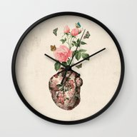 Wall Clock featuring Love by Paula Belle Flores