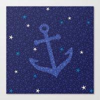 Starfish Anchor - Navy Canvas Print