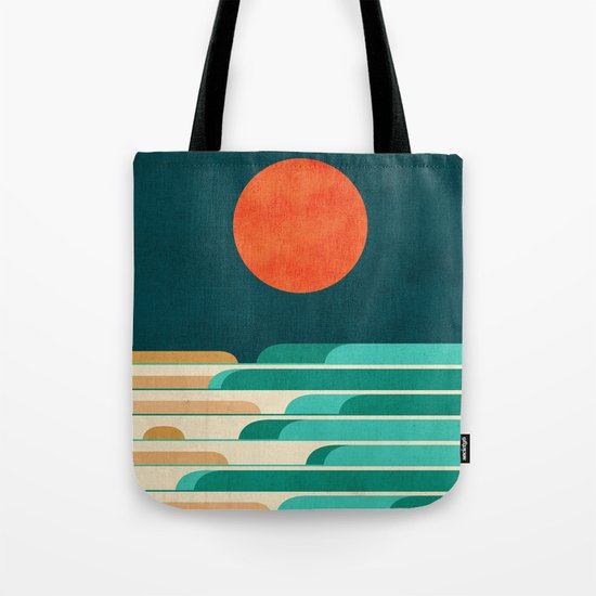 Chasing wave under the red moon Tote Bag