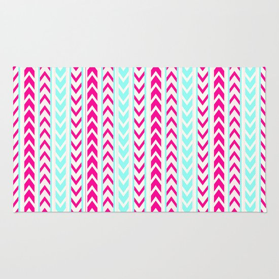 Modern Neon Pink Arrows Teal Hip Geometric Pattern Rug By