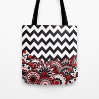 Floral Chevron. Tote Bag