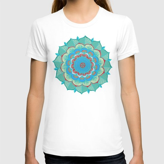 In Full Bloom - detailed floral doodle in blue, green & red T-shirt