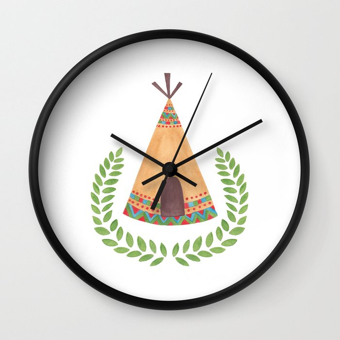 Tipi Watercolor Illustration on Wall Clock by Haidi Shabrina