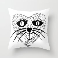 Kitty Love - Heart cat Throw Pillow