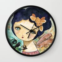 Charity Wings Watercolor Collage Wall Clock