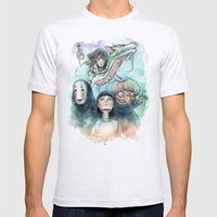 Spirited Away Watercolor Painting Mens Fitted Tee Ash Grey SMALL