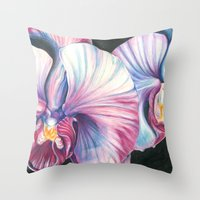 Pink Orchid Study Throw Pillow