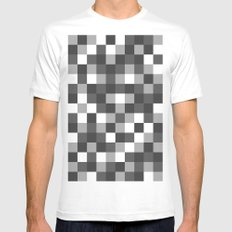 Colour Block Black and White SMALL Mens Fitted Tee White