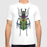 Flower Beetle Turquoise Mens Fitted Tee White SMALL