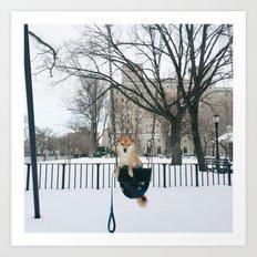 Snow day swing Art Print