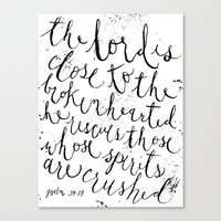 PSALM 34:18 (Black and White) Canvas Print