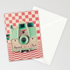 Mint Retro Camera on Red Chequered Background  Stationery Cards