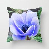 Purple Poppy Anemone I Throw Pillow