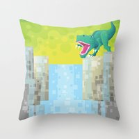 Dino Falls Throw Pillow