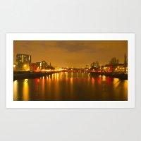 Glasgow At Night Art Print
