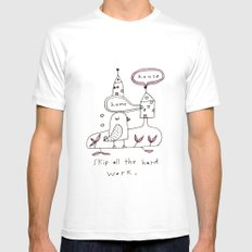 skip all the hard work White SMALL Mens Fitted Tee