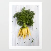 Organic Vegetable - Organic Yellow Carrots On Old White Wood Art Print