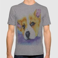 Corgi Love Mens Fitted Tee Athletic Grey SMALL