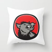 Wild Boar Head Angry Looking Up Circle Retro Throw Pillow