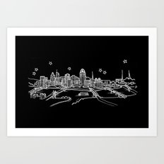 Cincinnati, Ohio City Skyline Art Print