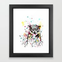 Owl Tree Watercolor Framed Art Print