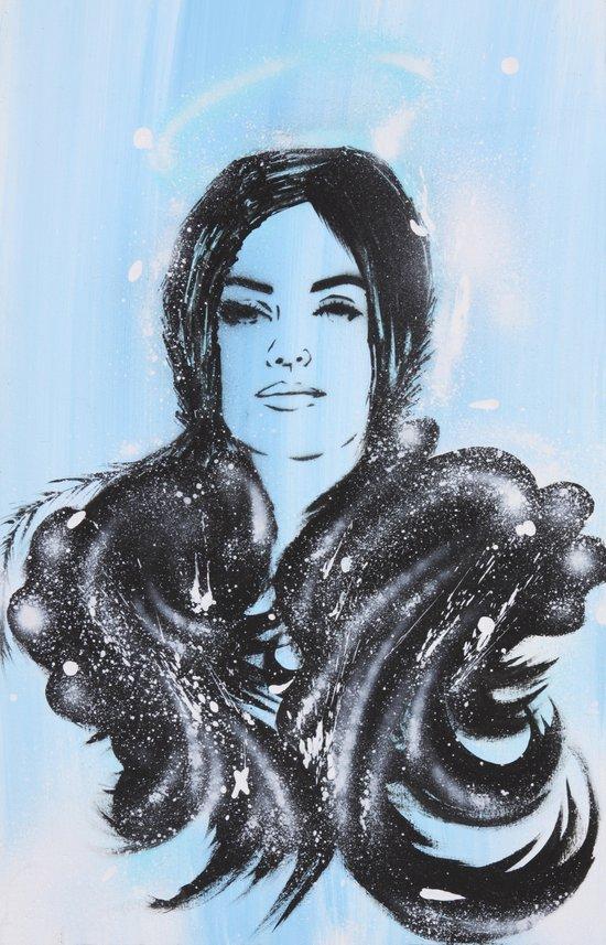 Dark Angel Stencil Face With Black Wings Acrylics & Spray Paint Art Print
