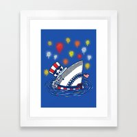 The Patriotic Shark Framed Art Print