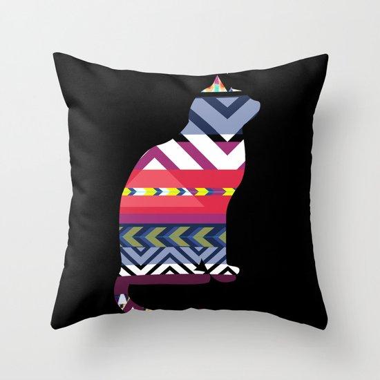 Tribal Feline Throw Pillow