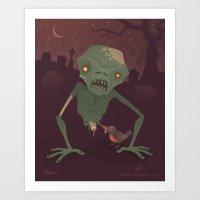 Sickly Zombie Art Print